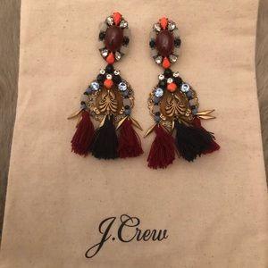 Jcrew earrings - winter navy, wine, orange, gold